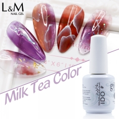 【Milk Tea Color Glass Gel 】IDO Gelpolish 24 Amber Glass Color Nail Gel Polish Summer Milk Tea Translucent Nail UV Gel