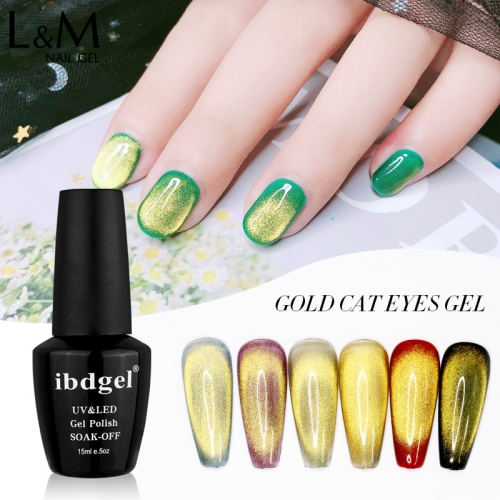 【Spar Cat Eye Gel  】ibdgel Spar Cat Eye Gel Polish Silver Gold Magnetic Nail Gel Lak 15ml