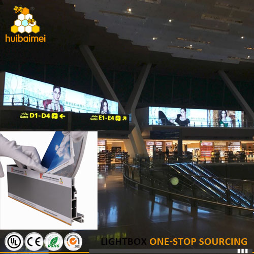 Airport large format advertising light box LED backlit frameless standing display fabric lightbox