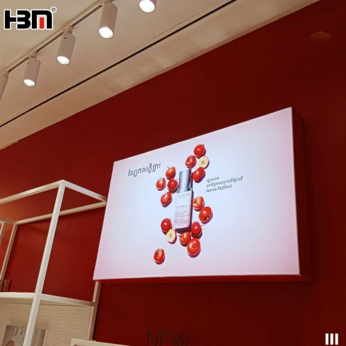 red color anodise aluminum profile frame backlit textile fabric light box indoor