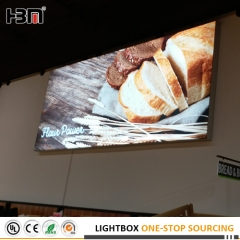 Super market frameless backlit fabric light box with tension fabric poster
