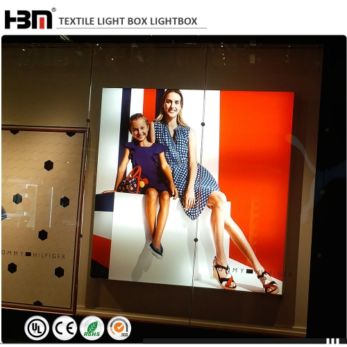 wall mounted aluminum frame light box 52mm frame depth fabric textile light box