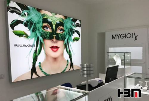 chain store used single side wall mounted seg aluminum profile frame backlit frameless fabric light box