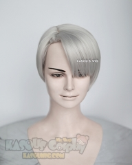 Yuri !!! on Ice Victor Nikiforov short gray  pre-styled cosplay wig with short bangs