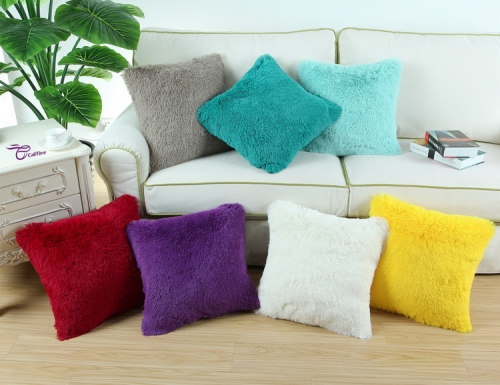 CaliTime Super Soft Throw Pillow Cover Case for Couch Sofa Bed Solid Plush Faux Fur