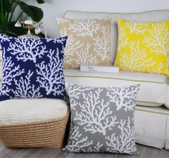 Pack of 2 CaliTime Supersoft Throw Pillow Covers Cases for Couch Sofa Bed Bedding Fluffy White Natural Coral Trees