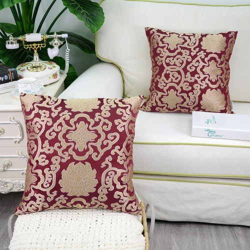 Pack of 2 CaliTime Soft Jacquard Throw Pillow Covers Cases for Couch Sofa Home Decoration Vintage Damask Floral Chain