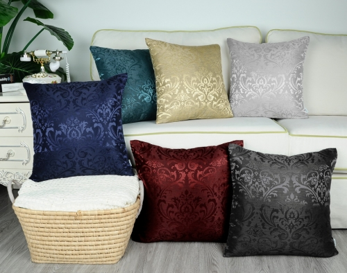 Pack of 2 CaliTime Throw Pillow Covers Cases for Couch Sofa Home Decoration Vintage Damask Floral Shining & Dull Contrast