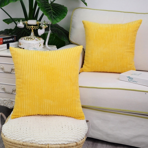 Pack of 2 CaliTime Cozy Throw Pillow Covers Cases for Couch Sofa Bed Comfortable Supersoft Solid Corduroy Striped Both Sides