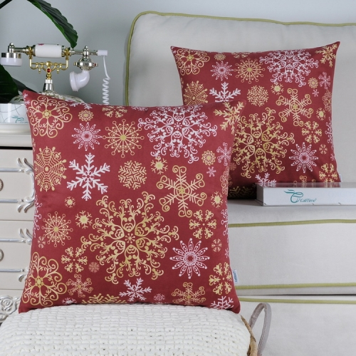 Pack of 2 CaliTime Cozy Fleece Throw Pillow Cases Covers for Couch Bed Sofa Christmas Snowflakes Both Sides