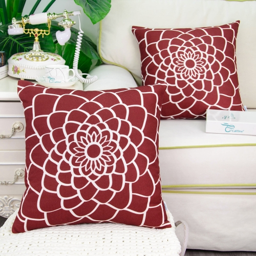 CaliTime Pack of 2 Soft Canvas Throw Pillow Covers Cases for Couch Sofa Home Decor Dahlia Floral Outline Both Sides Print