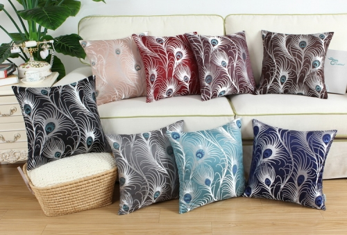 CaliTime Pack of 2 Throw Pillow Covers Cases for Couch Sofa Home Decoration Modern Peacock Feathers