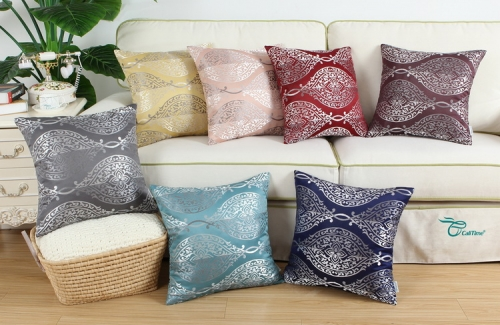 CaliTime Pack of 2 Throw Pillow Covers Cases for Couch Sofa Home Decoration Vintage Yin and Yang Contrast Striped Damask Floral