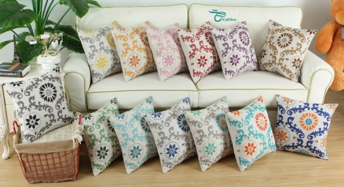 CaliTime Canvas Throw Pillow Cover Case for Couch Sofa Home Decoration Three-Tone Dahlia Floral Compass Geometric