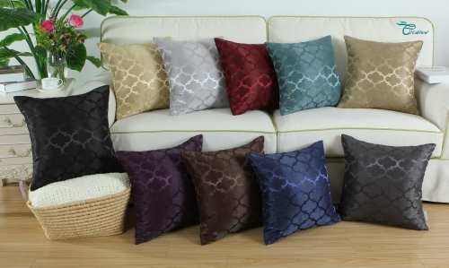 CaliTime Pack of 2 Cushion Covers Throw Pillow Cases Shells for Home Sofa Couch Modern Shining & Dull Contrast Quatrefoil Accent Geometric