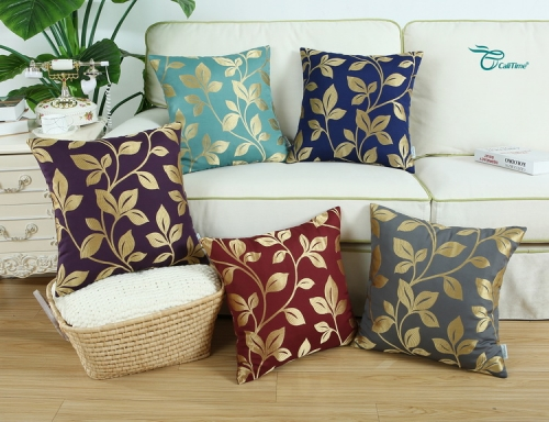 CaliTime Pack of 2 Soft Throw Pillow Covers Cases for Couch Sofa Home Decoration Cute Growing Leaves