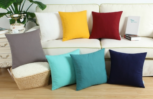CaliTime Pack of 2 Throw Pillow Covers Cases for Couch Sofa Bed Solid Dyed Soft Cotton Canvas