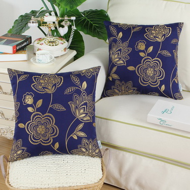 CaliTime Pack of 2 Cushion Covers Throw Pillow Cases Shells for Couch Sofa Home Decoration Dahlia Floral