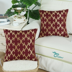 CaliTime Pack of 2 Throw Pillow Covers Cases for Couch Sofa Home Decoration Modern Quatrefoil Geometric Trellis Chain