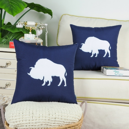 CaliTime Pack of 2 Poly Canvas Throw Pillow Covers Cases for Couch Sofa Home Decoration Vintage Buffalo Shadow Silhouette Print 18 X 18 Inches