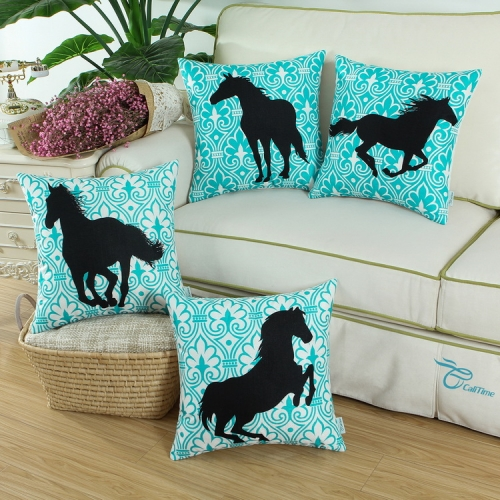 CaliTime Set of 4 Soft Canvas Throw Pillow Covers Cases for Couch Sofa Home Decoration 18 X 18 inches Black Horse with Turquoise Geometric Pattern