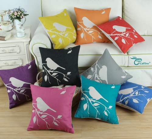CaliTime Set of 4 Soft Canvas Throw Pillow Covers Cases Couch Sofa Home Decoration Shadow Bird Tree Branches Silhouette