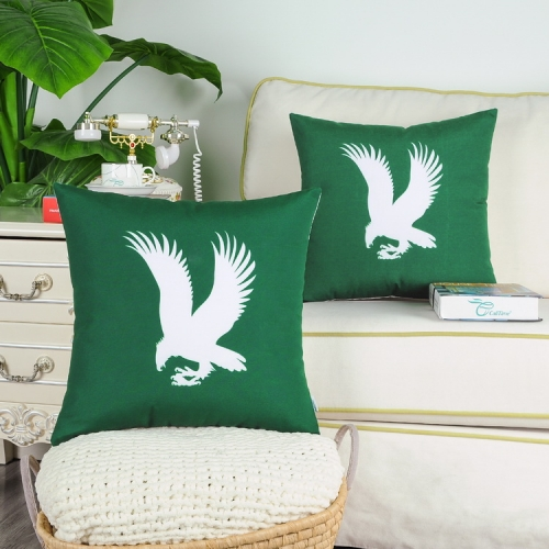CaliTime Pack of 2 Poly Canvas Throw Pillow Covers Cases for Couch Sofa Home Decoration Vintage Eagle Shadow Silhouette Print