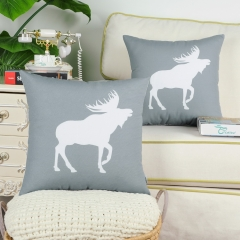 CaliTime Pack of 2 Poly Canvas Throw Pillow Covers Cases for Couch Sofa Home Decoration Vintage Moose Shadow Silhouette Print 18 X 18 Inches