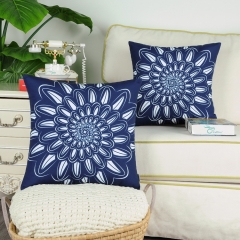 CaliTime Pack of 2 Poly Canvas Throw Pillow Covers Cases for Couch Sofa Home Decoration Rotating Dahlia Floral Print