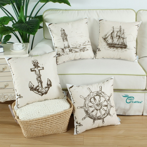 CaliTime Set of 4 Soft Canvas Throw Pillow Covers Cases for Couch Sofa Home Decoration
