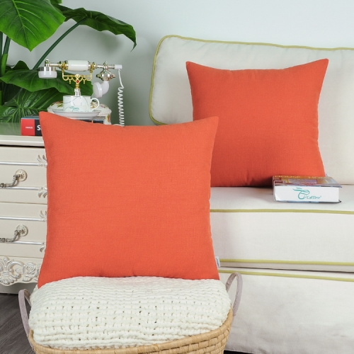 CaliTime Pack of 2 Cozy Throw Pillow Covers Cases for Couch Sofa Home Decoration Solid Modern Simple Faux Linen Both Sides