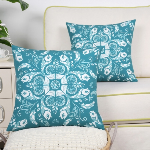 CaliTime Pack of 2 Poly Canvas Throw Pillow Covers Cases for Couch Sofa Home Decoration Creative Leaves & Feathers Dahlia Floral Print