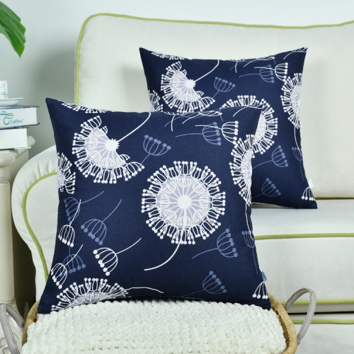 CaliTime Pack of 2 Soft Canvas Throw Pillow Covers Cases for Couch Sofa Home Decoration Flying Dandelion