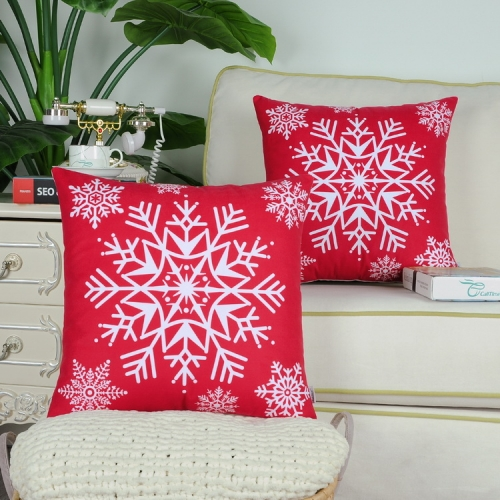 Pack of 2 CaliTime Cozy Fleece Throw Pillow Cases Covers for Couch Bed Sofa Christmas Snowflakes
