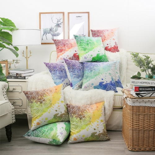 CaliTime Throw Pillow Cases Pack of 2 Cozy Fleece Watercolor Mandala Flora Bohemian Style Cushion Covers for Couch Bed Sofa Farmhouse Decoration