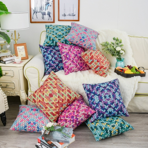 CaliTime Throw Pillow Cases Pack of 2 Cozy Colorful Geometric Lattice Woven Print Cushion Covers for Couch Bed Sofa Farmhouse Decoration