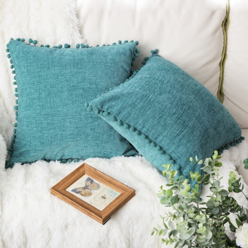 CaliTime Bolster Pillow Cases Pack of 2 Cozy Solid Dyed Soft Chenille Cushion Covers with Pom Poms for Couch Sofa Home Decoration