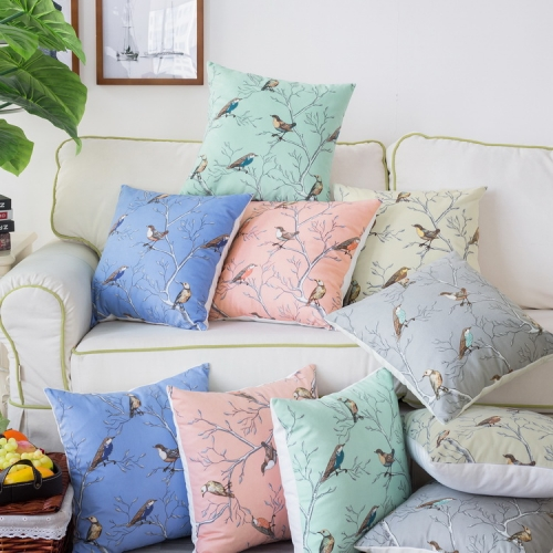CaliTime Throw Pillow Cases Pack of 2 Cozy Fleece Lovely Birds Tree Branches Style Cushion Covers for Couch Bed Sofa Farmhouse Decoration 18 X 18 Inch