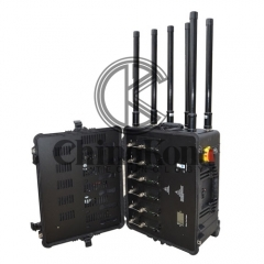 Draw-bar box Portable High Power Drone UAVS Signal Jammer with Output Power 300W...