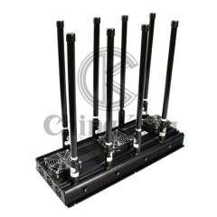 8 Bands High Power Cell Phone Signal Jammer 3G 4G WIFI Blocker 130 Watt UAV Drone Signal Jammer up to 300m