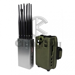 The Latest 10 Antennas Plus Portable Mobile Phone Signal Jammer LOJACK GPS Wi-Fi Signal Blocker Bigger Hot Sink & Battery 7Watt Jamming up to 20m