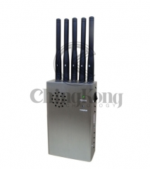 Handheld 5 Antennas Cell Phone WIFI GPS Jammer, Block 2g/3G/4G or GPS WIFI Signals,