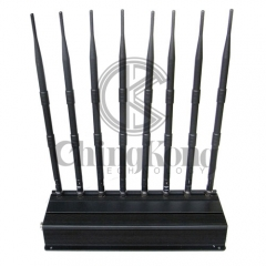 The best quality Mobile Phone Signal Jammer 8 Antennas Cell Phone 3G 4G signal Blocker with 2.4G 5.8G or GPS Lojack