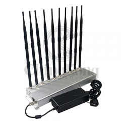 The Latest Indoor Using 10 antennas Mobile phone Signal Jammer For GSM 3G 4GLTE signal Block WIFI2.4G UHF/VHF Walkie-Talkie Signal Jammer