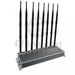New powerful cellphone WIFI signal jammer with 8 Antennas indoor using adjustable 46W output power jamming up to 60m