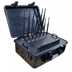High power portable Jammer for 2G/3G/4G Jammer with LOJACK GPSL1-L5 WIFI2.4G 5G Signals, Suitcase Build-in Battery and AC adapter