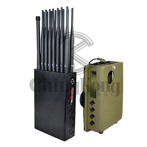 2020 The Latest Handheld 16 Bands Cell Phone Signal Jammer With Nylon Cover,Blocking 5G 4G Wi-Fi5G RF Signal Jammer,16Watt Jamming up to 25m