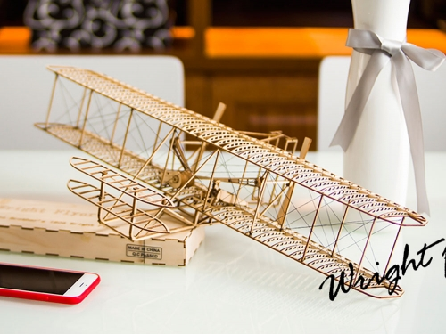 Free shipping VC01 1:18 DIY Craft Wooden Model Display Wright Flyer-I Building Toys DWHobby Dancing Wings Hobby Airplane Model Aeroplane to Build