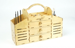 VT02 Wooden Toolbox Building Kit Perfect for Tools Knife,File,Pin,Glue,Sandpaper,Clamp,Pencil,Ruler and Protractor