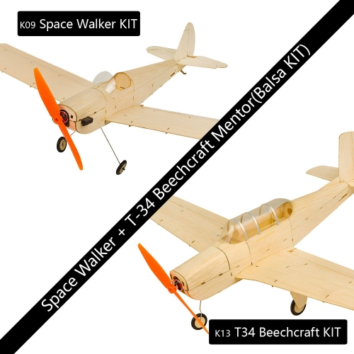 Mini RC Balsawood Airplane Combo K09 Spacewalker + K13 T34 ACFree Shipping